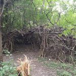 student built fort in saline woods